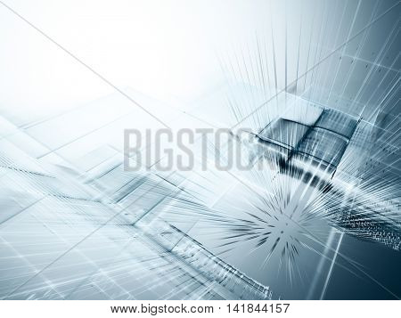 Abstract background element. Fractal graphics series. Three-dimensional composition of intersecting grids. Information technology concept. Grey colors.