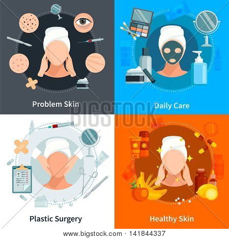 Skin care 2x2 flat concept set with problem skin daily care and plastic surgery design compositions vector illustration