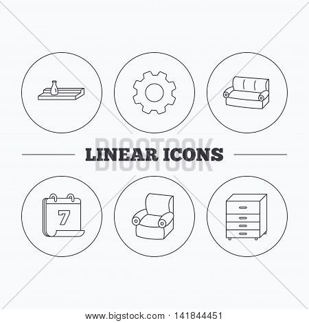 Sofa, wall shelf and armchair icons. Chest of drawers linear sign. Flat cogwheel and calendar symbols. Linear icons in circle buttons. Vector