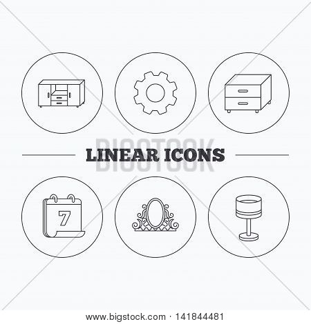 Vintage mirror, table lamp and nightstand icons. Chest of drawers linear sign. Flat cogwheel and calendar symbols. Linear icons in circle buttons. Vector