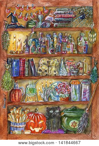 Halloween hand drawn illustration with magic objects on wooden shelves in witch house