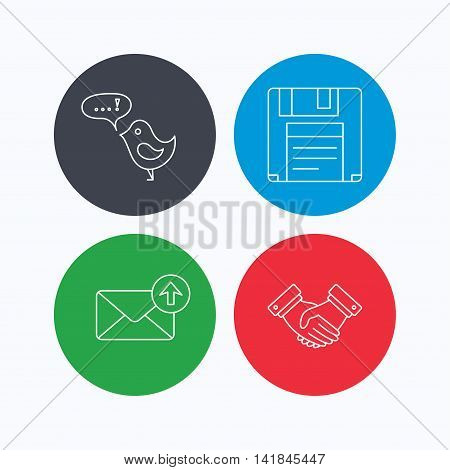 Outbox mail, message and handshake icons. Floppy disk linear sign. Linear icons on colored buttons. Flat web symbols. Vector