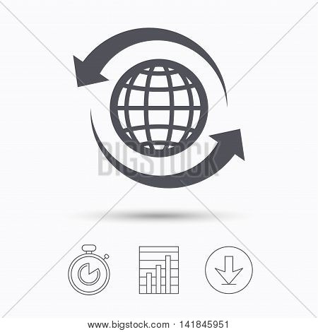 Globe icon. World or internet symbol. Stopwatch, chart graph and download arrow. Linear icons on white background. Vector