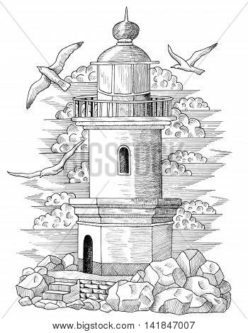 Old light house with flying gulls and stone basement, vintage engraved hand drawn illustration