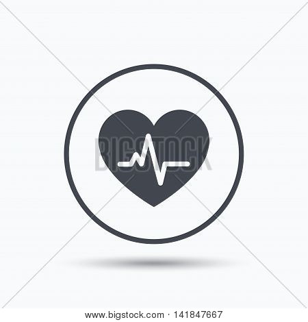 Heartbeat icon. Cardiology symbol. Medical pressure sign. Circle button with flat web icon on white background. Vector