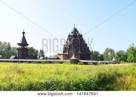 Wooden church (Pokrovskaya church) St. Petersburg Russia. The monument of wooden architecture Pokrovsky graveyard