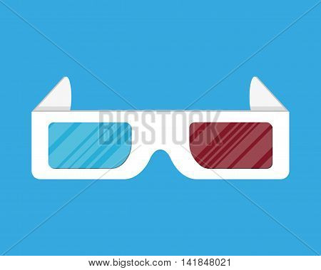 Cinema paper stereo 3d glasses. vector illustration in flat style on blue background