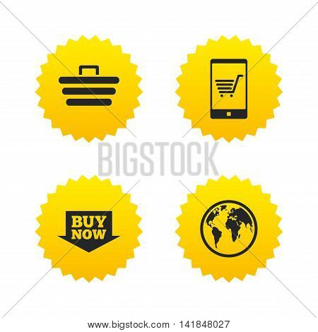 Online shopping icons. Smartphone, shopping cart, buy now arrow and internet signs. WWW globe symbol. Yellow stars labels with flat icons. Vector