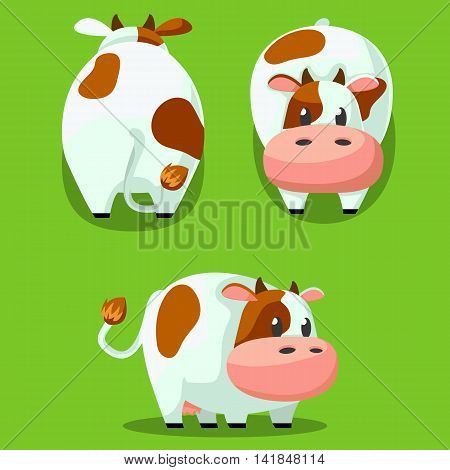 Cute Round Cow Stylized Pet, Funny Cartoon Vector Illustration