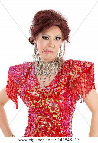 Portrait Drag Queen In Red Dress Shows Grimaces