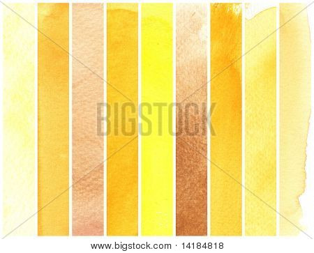 yellow great watercolor background - watercolor paints on a rough texture paper