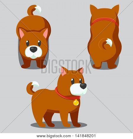Cute Round Dog Stylized Pet, Funny Cartoon Vector Illustration