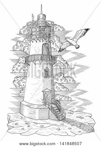 Vintage light house with a gull, hand drawn engraved illustration