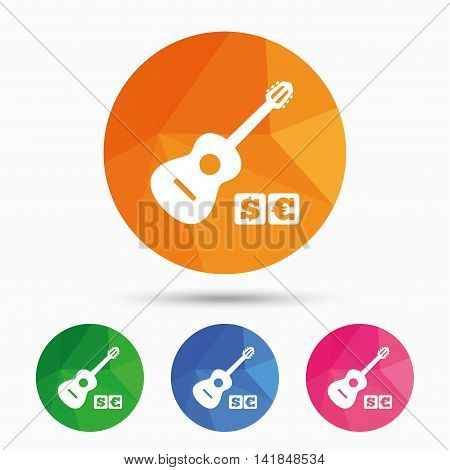 Acoustic guitar sign icon. Paid music symbol. Triangular low poly button with flat icon. Vector