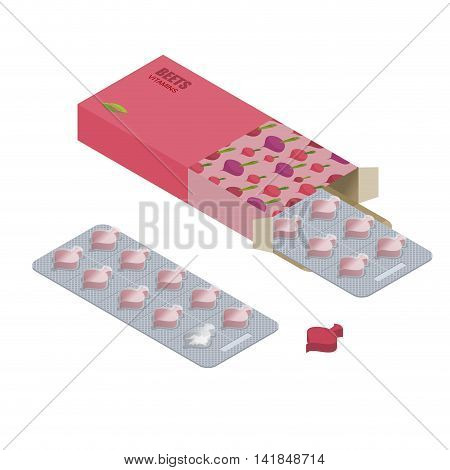 Beet Pills  In Pack. Vegetarian Vitamins. Tablets Box. Natural Products For Health Inform Of Fresh B