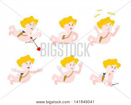 Cupid Set Of Motion. Amur Set Of Poses. Angel Of Emotional Expression. Angry And Funny. Discouraged