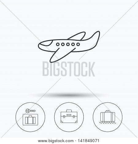 Baggage, luggage security and airplane icons. Briefcase linear sign. Linear icons in circle buttons. Flat web symbols. Vector