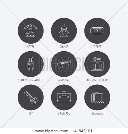 Hotel, cruise ship and airplane icons. Key, baggage and briefcase linear signs. Luggage security and ticket flat line icons. Linear icons in circle buttons. Flat web symbols. Vector