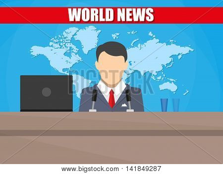 Silhouette of a man with microphone, laptop, glass and world map. News announcer in the studio. breaking news. Vector illustration. vector illustration in flat style