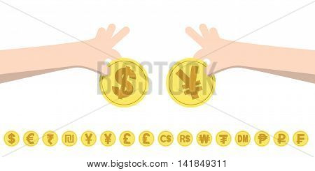Dollar Exchange Yen And Coins For Currency Exchange Rates Illustration Vector. Finance Concept.