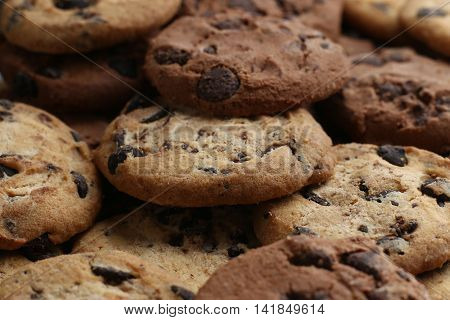 Cookies With Chocolate Chip Assorted. Close Up Background