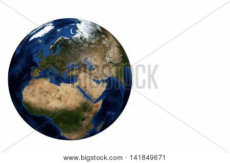 Whole earth globe view focus on Europe