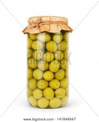 Green olives preserved in bank bottle  meal, steel,