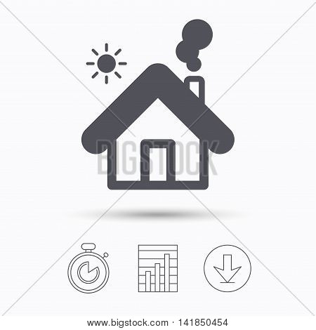 Home icon. House building symbol. Real estate construction. Stopwatch, chart graph and download arrow. Linear icons on white background. Vector