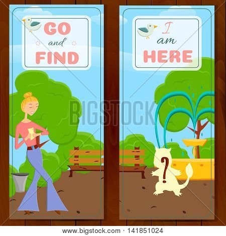 2 postcards with cartoon girl with mobile phone go searching in global world wide game on a nature.Fashion girl go try to catch rare animal with mobile app in a park with trees.Game style design
