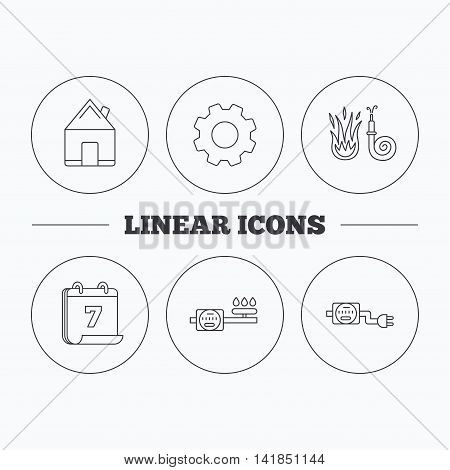 Real estate, fire hose and gas counter icons. Electricity counter linear sign. Flat cogwheel and calendar symbols. Linear icons in circle buttons. Vector