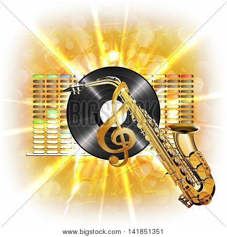 Musical background flash treble clef vinyl sax in the background clarified equalizer. Made without borders with whitened can be used with any text or image on a white background.