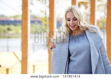 Woman in autumn city