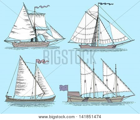 Set with vintage fishing boats. Hand drawn flat illustration with sailing vessels on blue background
