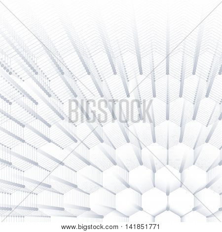 Abstract geometric background, hexagonal texture. Big data visualization and communication. Social network. Vector illustration