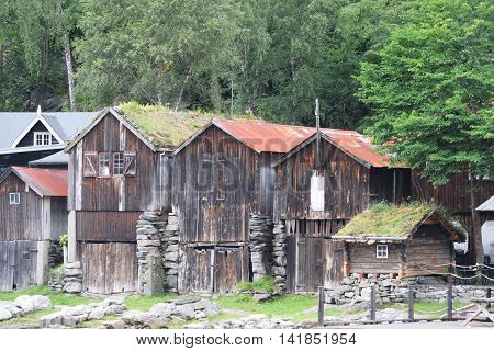Typical old wooden fishing shacks in Norway