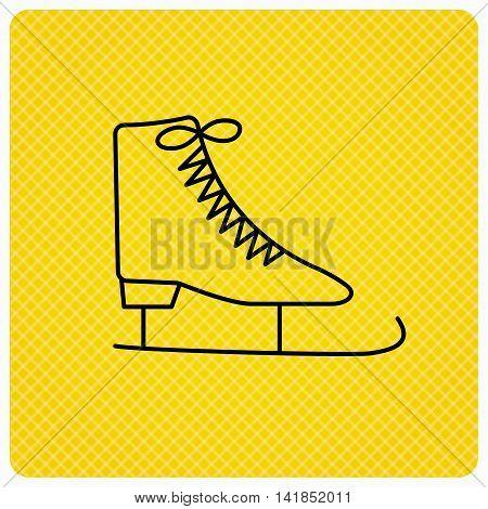 Ice skates icon. Figure skating equipment sign. Professional winter sport symbol. Linear icon on orange background. Vector