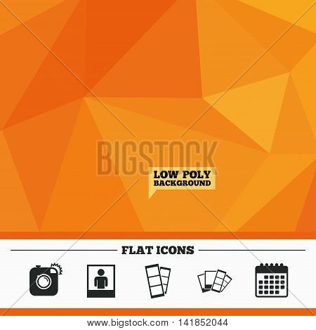 Triangular low poly orange background. Hipster photo camera icon. Flash light symbol. Photo booth strips sign. Human portrait photo frame. Calendar flat icon. Vector