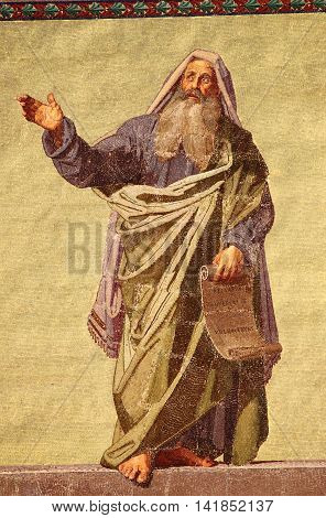 Mosaic of the Prophet Daniel in the facade of Basilica of Saint Paul outside the walls. Rome Italy