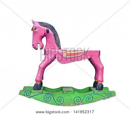 old Pink wooden rocking horse