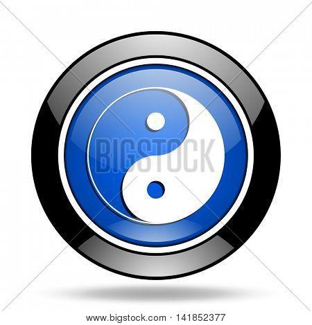 ying yang blue glossy icon