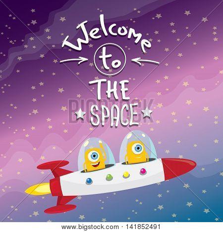 ufo. cute alien vector illustration. flying saucer