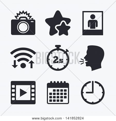 Photo camera icon. Flash light and video frame symbols. Stopwatch timer 2 seconds sign. Human portrait photo frame. Wifi internet, favorite stars, calendar and clock. Talking head. Vector