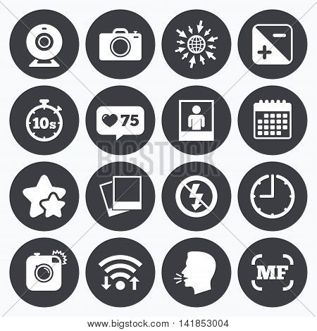 Calendar, wifi and clock symbols. Like counter, stars symbols. Photo, video icons. Web camera, photos and frame signs. No flash, timer and portrait symbols. Talking head, go to web symbols. Vector