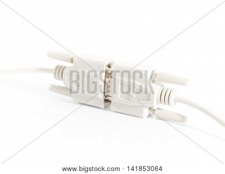Vga Input Cable  Connector With White Cord