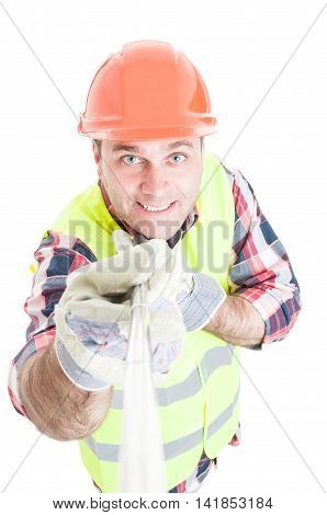 Smiling Male Constructor Taking A Self Portrait