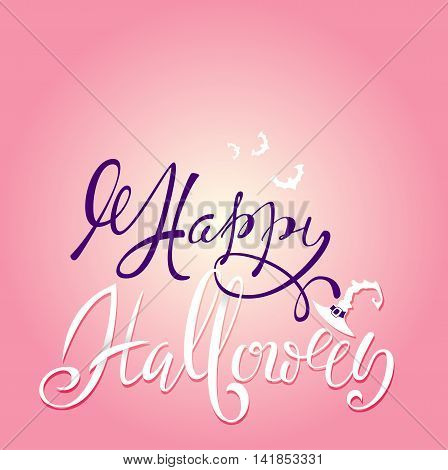 Happy Halloween text. Vector lettering with pink gradient background. Flat halloween elements. Halloween card.