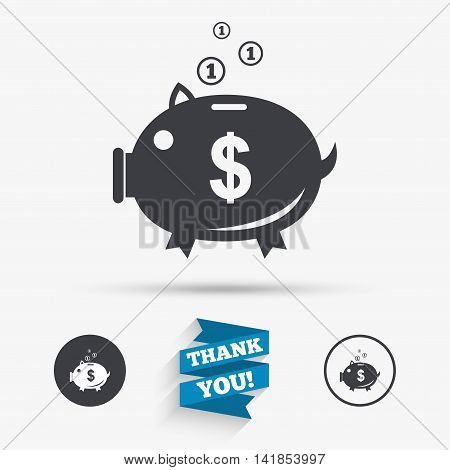 Piggy bank sign icon. Moneybox dollar symbol. Flat icons. Buttons with icons. Thank you ribbon. Vector