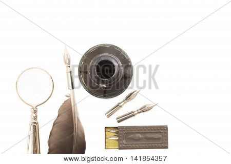 Vintage writing set isolated on white background