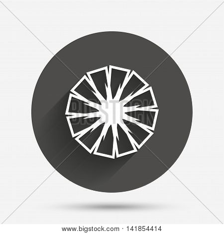 Pineapple slice sign icon. Ananas exotic tropical fruit symbol. Circle flat button with shadow. Vector