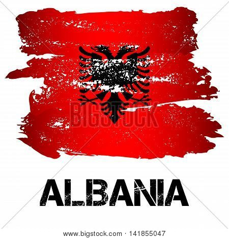 Flag of Albania from brush strokes in grunge style isolated on white background. Country in Southern Europe. Vector illustration